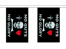 Pirate Jolly Roger Skull 'No Guts No Glory' Flag 6m Bunting